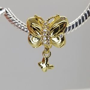 Pandora NEW Shine Butterfly 18ct gold plt charm